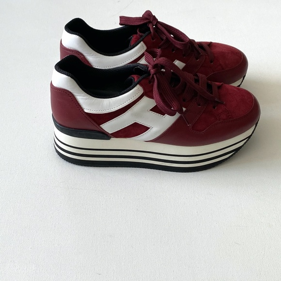 OGAN Maxi H222 Burgundy Leather Sneakers Size 38